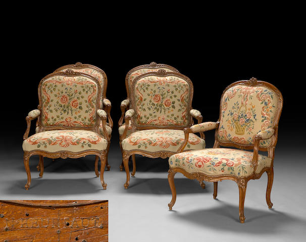 A set of five Louis XV carved walnut and needlepoint upholstered fauteuils à la reine  Nicolas Heurtaut third quarter 18th century