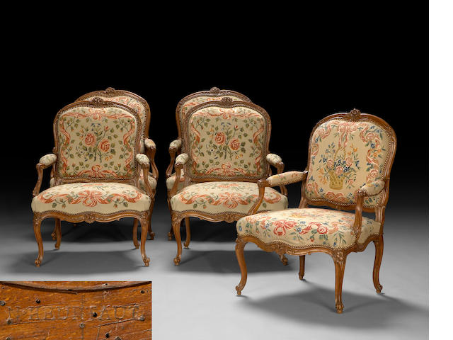 A set of five Louis XV carved walnut and needlepoint upholstered fauteuil à la reine <br>Nicolas Heurtaut<br>third quarter 18th century