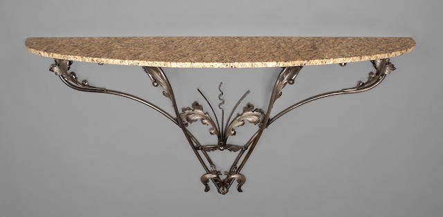 A pair of Continental marble and polished wrought iron console tables  late 19th/early 20th century