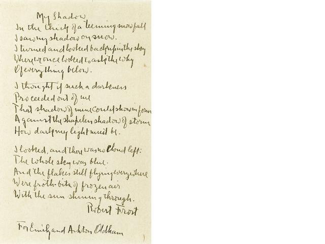 Frost, Robert. Autograph poem.