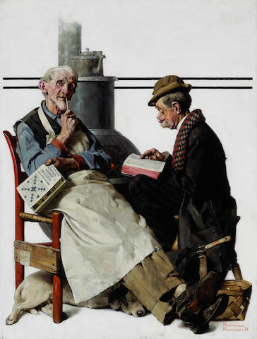 (n/a) Norman Rockwell (American, 1894-1978) 'The crossword puzzle' 30 x 23in