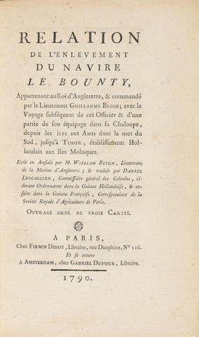 Bligh, William. RELATION DE L'ENVEMENT DU NAVIRE LE BOUNTY. APPARTEMANT AU ROI D' ANGLETTERRE, & COMMANDE