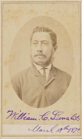 "(Lunalilo, King William C.). PHOTO OF KING WILLIAM C. LUNALILO (KAMEHAMEHA IV). (CDV). Honolulu; M. Dickson; 1873; condition. King's inscription & signature on front reads ""William C. Lunalilo March 13th 1873""."