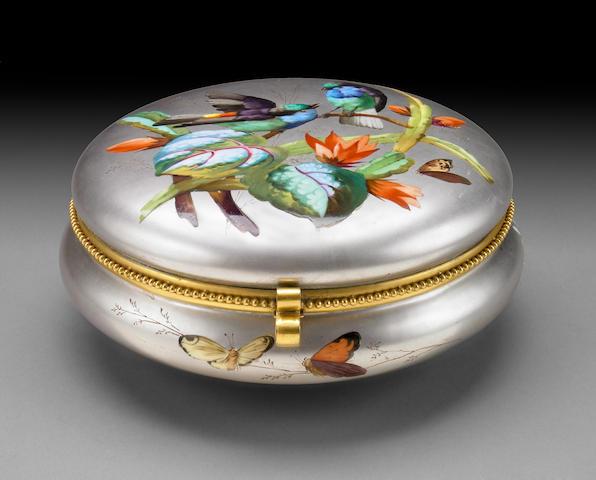 A French 'Exposition Universelle' platinum ground porcelain dresser box  fourth quarter 19th century