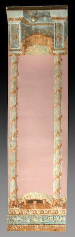 A set of fourteen Empire polychrome decorated papier peinte panels  first half 19th century