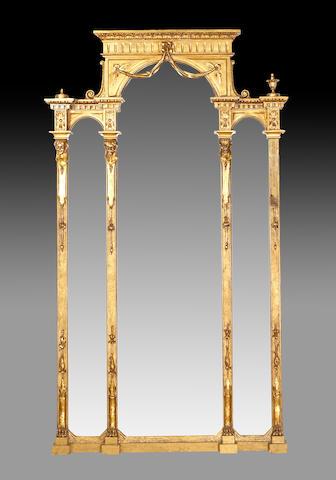 A Louis XVI style triptych pier mirror  second half 19th century