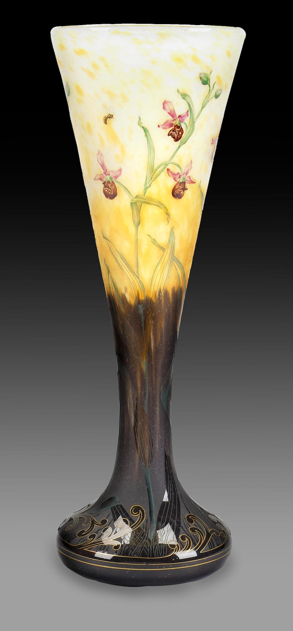 A Daum Nancy gilt decorated enameled cameo glass large vase  circa 1900