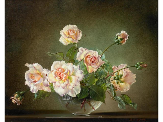 Cecil Kennedy (British, 1905-1997) 'Madame Butterfly' roses in a glass vase 16 1/8 x 20in