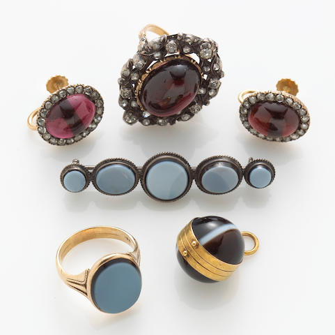 A collection of five agate, diamond, garnet, 18k, 14k gold and silver jewelry