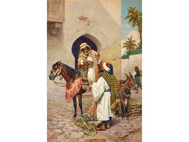 S. Marino, Orientalist watercolor, photography in frame