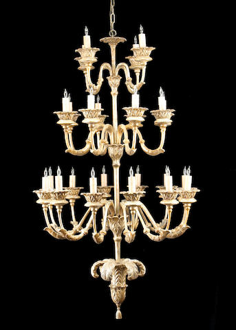 A Northern Italian Neoclassical style silver giltwood and iron twenty four light chandelier