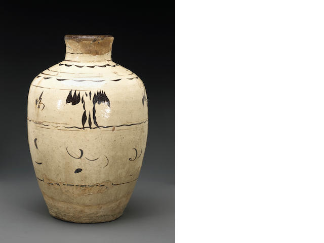 A Cizhu brown slip decorated jar, Late Ming Dynasty