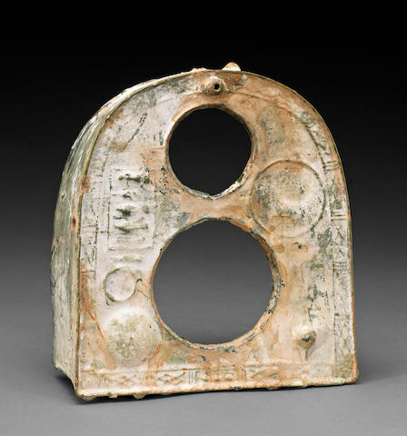 A green glazed pottery mortuary model of a stove, Han Dynasty