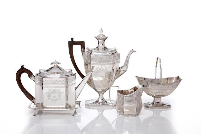 A George III silver five piece tea and coffee service John Robbins, London, 1806
