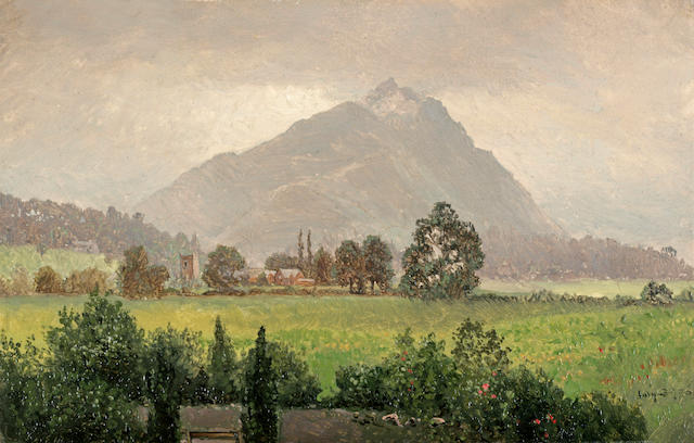 Walter Launt Palmer (1854-1932), James Brade Sword (1839-1915) and George Frederick Bensell (1837-1879) Landscape with mountain; End of day; River landscape with diving birds (3) first 6 3/4 x 10 3/4in; second 6 x 10in; third 9 x 13in