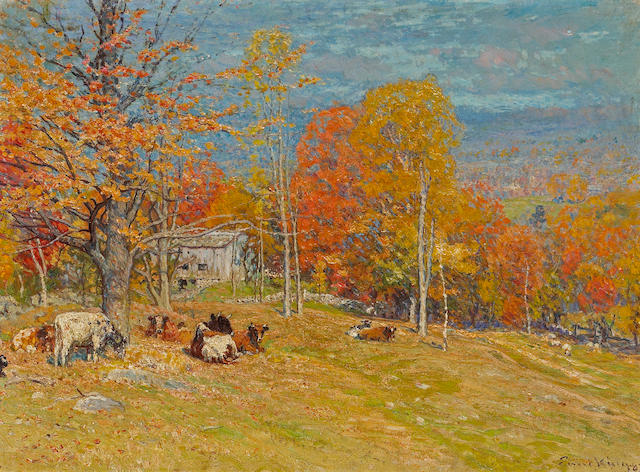 John Joseph Enneking (American, 1841-1916) Autumn pasture 22 x 30in