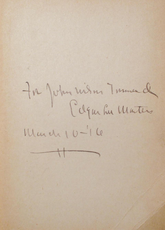 MASTERS, EDGAR LEE. 1869-1950.