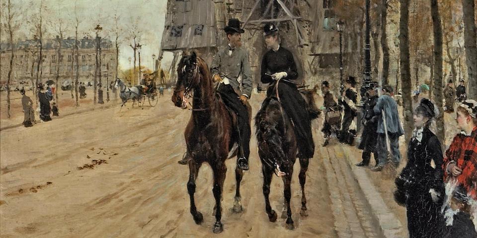 Giuseppe de Nittis (Italian, 1846-1884) A ride along the Avenue des Champs-Elysées 21 x 16in (53.3 x 40.7cm)