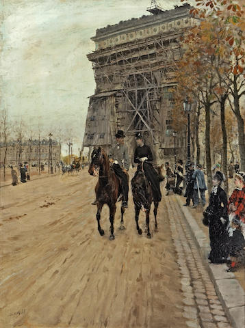 Giuseppe de Nittis (Italian, 1846-1884) A ride along the Avenue des Champs-Elysées 21 x 16in (53.3 x 40.7cm)