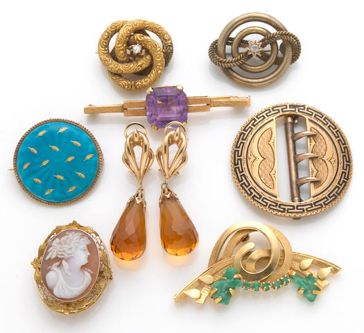 A collection of emerald, amethyst, citrine, diamond, enamel, cameo, 18k, 14k and 10k gold jewelry
