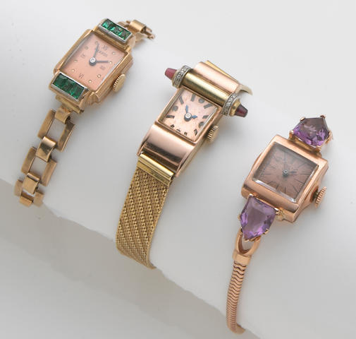 A collection of three retro diamond, amethyst, gem-set, 18k and 14k bicolor gold wristwatches,