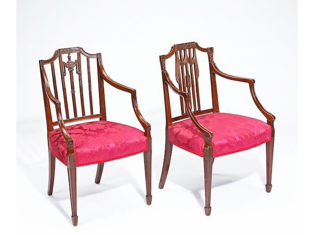 An assembled set of eight George III mahogany dining chairs  fourth quarter 18th century, two of later date
