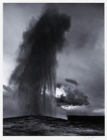 Ansel Adams (American, 1902-1984); Old Faithful Geyser, Late Evening, Yellowstone National Park, Pl. 13, from Portfolio II;