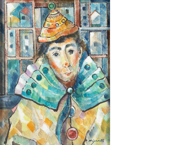 Jose Mijares (Cuban, 1921-2004) Untitled (Portrait of a clown) 13 3/4 x 10 1/2in (35 x 26.7cm)