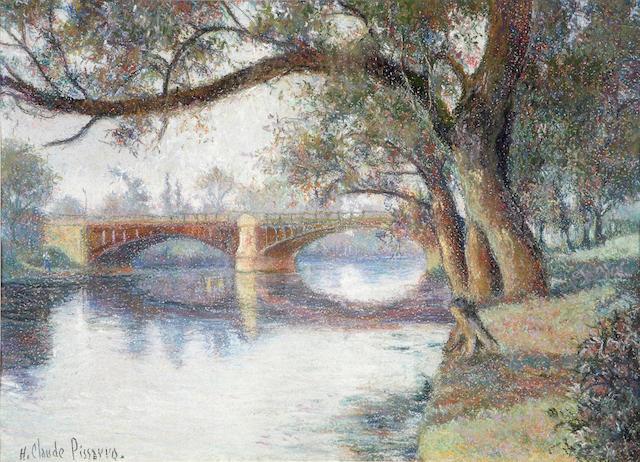 Hughes Claude Pissarro (French, born 1935) Le Pont de Puteaux 15 1/2 x 19 3/4in (39.4 x 50.2cm)