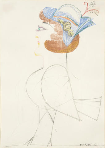 (n/a) Saul Steinberg (American, 1914-1999) Untitled (Lady Bird), 1964 12 x 8 1/2in