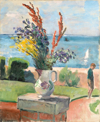 Henri Lebasque (French, 1865-1937) La terrasse devant la mer, Préfailles, c. 1922 24 x 19 11/16in (61 x 50cm)