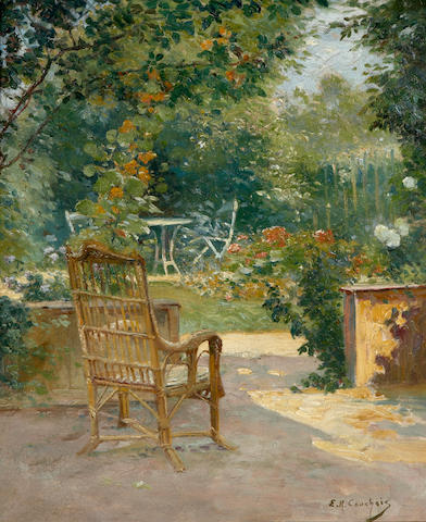 Eugène Henri Cauchois (French, 1850-1911) Morning in the garden, c. 1890 18 1/4 x 15 1/4in (46.3 x 38.7cm)