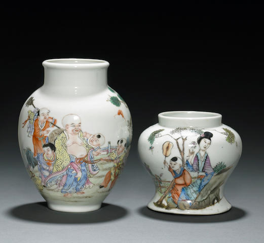 Two small famille rose enameled porcelain vases with figural decoration Republic Period