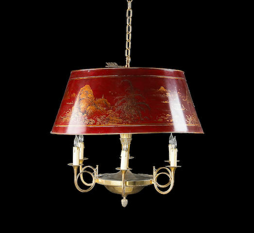 An Empire style gilt brass and scarlet lacquered tôle six light chandelier  late 19th century