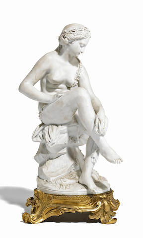 A French bisque porcelain figure of a bathing maiden  after Jean-Jacques Feuchère (French, 1807-1852) late 19th century