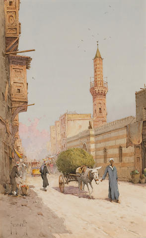 A street scene , also a companion watercolour, a pair (2)