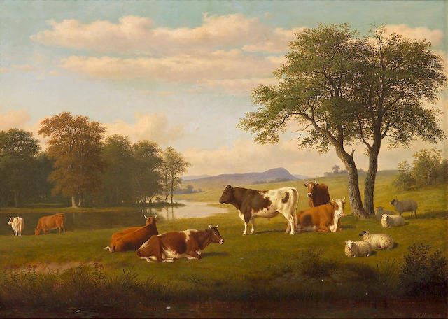 Thomas Hewes Hinckley (American, 1813-1896) Cows and sheep by a stream 26 1/2 x 36in