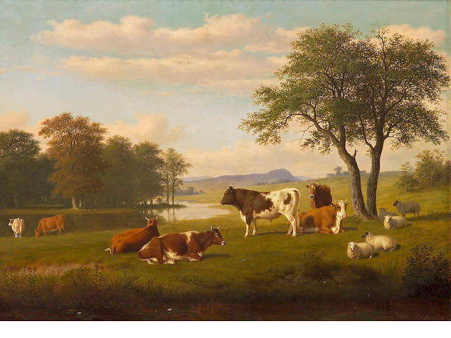 Thomas Hewes Hinckley (1813-1896), Cows and sheep resting in a river landscape