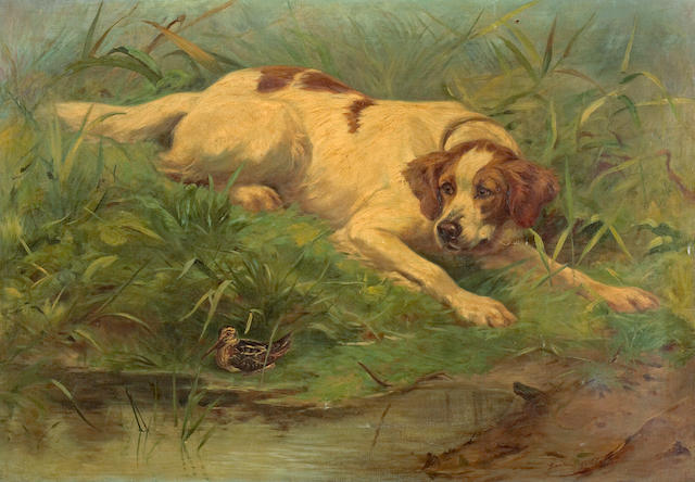 Gaston Gélibert (French, 1850-1931) The dog and the woodcock 28 3/4 x 41 1/2in (73.0 x 105.4cm)