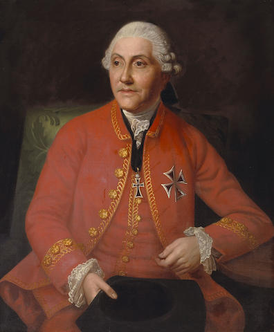 Italian School, late 18th Century A portrait of a gentleman, half-length, wearing the insignia of the Marianer Order 37 1/2 x 31in (95.3 x 78.8cm)