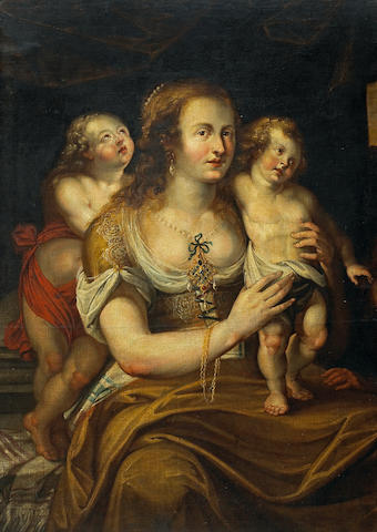 Flemish School, late 17th Century A woman with two children 46 1/2 x 32 1/2in (118.1 x 82.5cm)