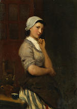 Bernardus Johannes Blommers (Dutch, 1845-1914) A servant girl 9 3/4 x 6 3/4in (24.8 x 17.2cm)