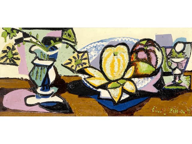 Emil Filla (Czechoslovakian, 1882-1953) Still life with a vase of flowers, a bowl of oranges and a glass, 1948 11 x 23 5/8in (28 x 60cm)