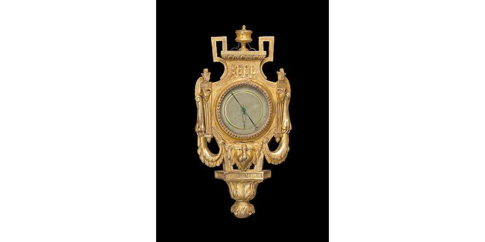 A fine Louis XVI giltwood barometer  last quarter 18th century