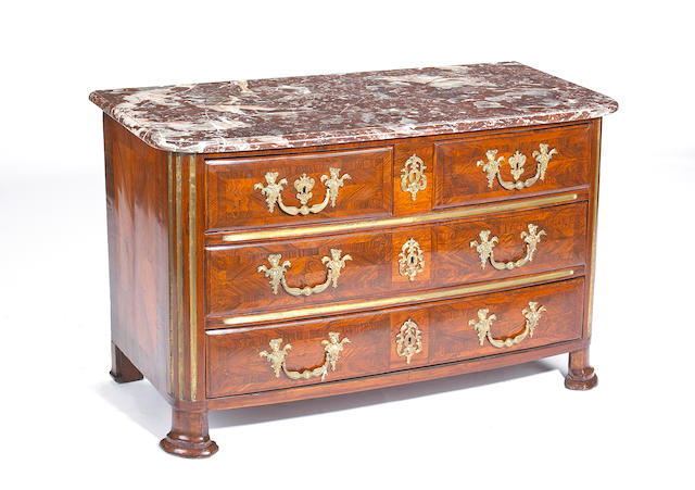 A fine early Louis XV gilt bronze mounted rosewood and parquetry commode  second quarter 18th century