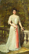 Thomas Benjamin Kennington (British, 1856-1916) A portrait of a lady in a white dress with a pink sash by a balustrade 89 x 47 1/2in (226 x 120.6cm)