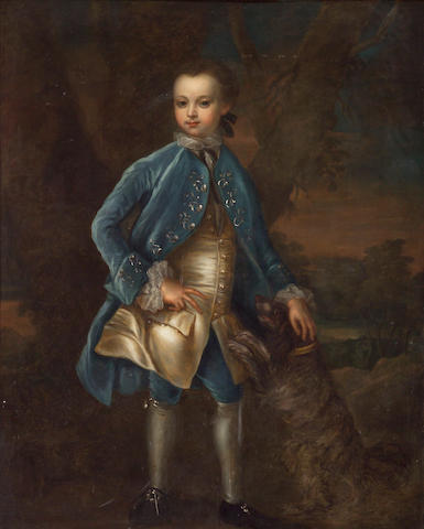 Circle of Joseph Highmore (British, 1692-1780) A portrait of a young boy, full length, in a blue coat and blue breeches, holding his hat 50 x 39 3/4in (127 x 100.9cm)