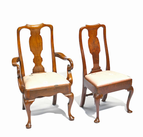 A set of eight George I walnut chairs  first quarter 18th century