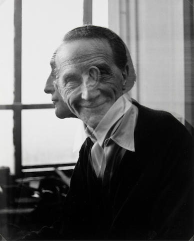Victor Obsatz (American, born 1925); Portrait  No. 29 (Double Exposure: Full Face and Profile)Portrait of Marcel Duchamp;