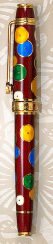"Red Enamel ""Pierrot"" Fountain Pen by David Oscarson"